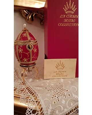 """Handmade Russian egg Faberge style egg Music box Trinket Jewelry box Fabergé authentic goose egg Hand decorated Bohemian diamonds embellished 24kt hand-painted 5.9"""" x 2.8"""" gold by Pierre Lorren"""