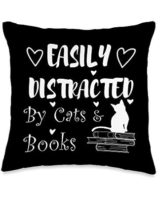 Cute Cuddly Reading Cats Cat and Reading Book Cute Kitty Throw Pillow, 16x16, Multicolor