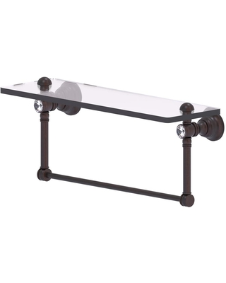 Allied Brass Carolina Crystal Collection 16 in. Glass Shelf with Integrated Towel Bar in Venetian Bronze