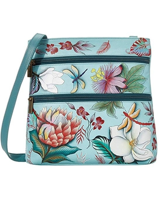 Anuschka Handbags Compact Crossbody Travel Organizer 447 (Jardin Bleu) Cross Body Handbags