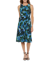 Black Label by Evan-Picone Sleeveless Floral Fit & Flare Dress, 18 , Blue