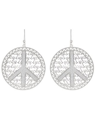 X & O Fine Silver Plated Lucky Peace Earring with Crystal