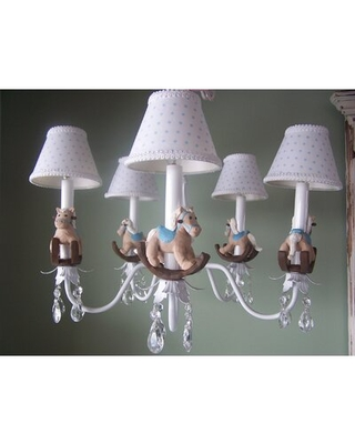 Baby Rocking Horse 5 - Light Shaded Classic / Traditional Chandelier Silly Bear Lighting Shade: Rocking Dots
