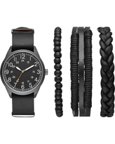 Men's Easy Read Field Strap Watch Set - Goodfellow & Co Gunmetal