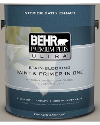 BEHR ULTRA 1 gal. #PPU24-09 True Taupewood Satin Enamel Interior Paint and Primer in One