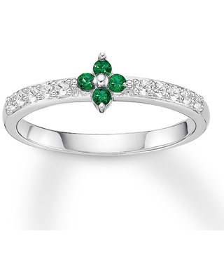 Lab-Created Emerald Ring Lab-Created Sapphires Sterling Silver