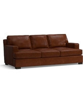 Townsend Square Arm Leather Sofa, Polyester Wrapped Cushions, Leather Statesville Molasses