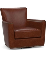 Irving Square Arm Leather Swivel Rocker with Bronze Nailheads, Polyester Wrapped Cushions, Leather Statesville Molasses
