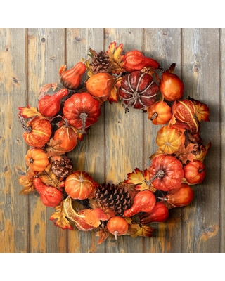 """24"""" Waterproof Pumpkin/Goard Maple Leaf Wreath - 24-Inches (Harvest Mix - Centerpieces - 24-Inches - Polyester - Indoor/Outdoor)"""