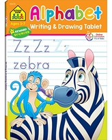 School Zone - Alphabet Writing & Drawing Tablet Workbook - 96 Pages, Ages 3 to 7, Preschool, Kindergarten, 1st Grade, Letters, Printing, Tracing, ... (Writing & Drawing Tablet) (Writing Tablet)
