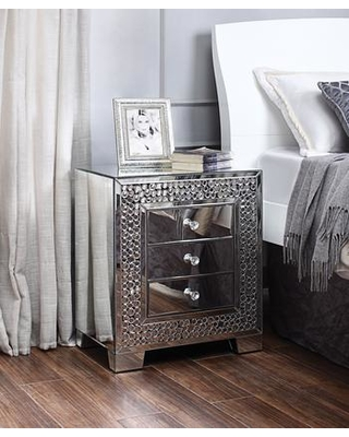 "Kachina Collection 97584 22"" Nightstand/End Table with 3 Drawers Beveled Edge Mirrored Top Faux Gems Inlay Rectangular Shape Glam Style and"
