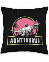 Mother's Day Designs Mom-Gifts Auntsaurus Tyrannosaurus Rex Funny Aunt Auntie Throw Pillow, 16x16, Multicolor