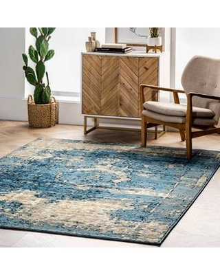 Rugs USA Blue Tracce Distressed Foggy Medallion rug - Traditional Rectangle 2' x 3'