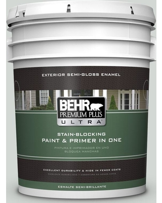 BEHR ULTRA 5 gal. #PPU25-13 Misty Coast Semi-Gloss Enamel Exterior Paint and Primer in One