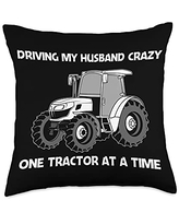 Cool Farm Big Construction Truck Farmer Clothes Funny Tractor Gift For Women Mom Farming Clothes Lover Throw Pillow, 18x18, Multicolor