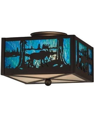 Loon Peak Yamaguchi 2-Light Semi Flush Mount LNPE6894 Shade Color: Clear Frosted