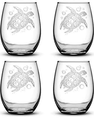 Integrity Bottles Set of 4, Sea Turtle Stemless Wine Glasses, Made in USA, Tribal Design, Hand Etched 14.2 oz Unique Glass Gifts, Sand Carved