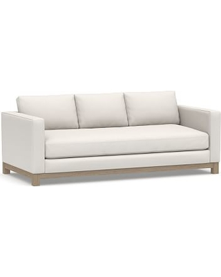 """Jake Upholstered Sofa 85"""" with Wood Legs, Polyester Wrapped Cushions, Performance Everydaylinen(TM) by Crypton(R) Home Ivory"""