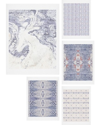 Deny Designs French Linen Five-Piece Gallery Wall Art Print Set, Size One Size - Blue