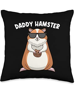 Best Hamster Pet Winter White Fur Designs Cool Hamster Gift For Men Grandpa Syrian Dwarf Rodent Animal Throw Pillow, 16x16, Multicolor