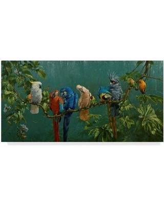 """World Menagerie 'Perroquets' Acrylic Painting Print on Wrapped Canvas WRME2834 Size: 24"""" H x 47"""" W x 2"""" D"""