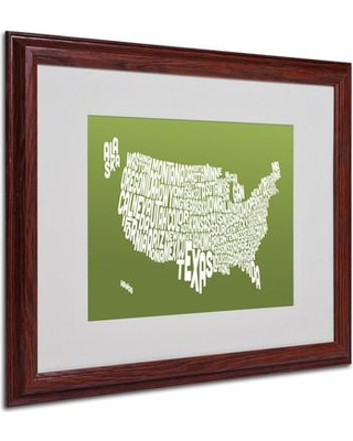 """Trademark Fine Art 'USA States Text Map' Framed Textual Art Print on Canvas MT0228-B1114MF Size: 16"""" H x 20"""" W Frame: Brown - Beveled"""