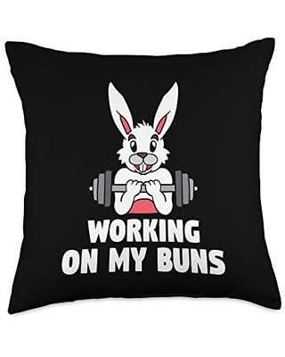 BCC Happy Easter Shirts & Egg Hunt Basket Stuffer Working On My Buns Easter Bunny Gym Workout Fitness Rabbit Throw Pillow, 18x18, Multicolor
