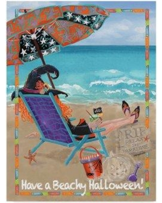 """Highland Dunes 'Beachy Halloween' Acrylic Painting Print on Wrapped Canvas HGLN1067 Size: 24"""" H x 18"""" W x 2"""" D"""