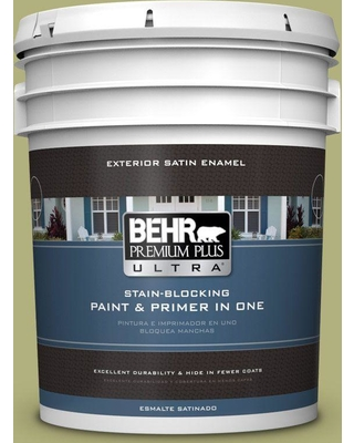 BEHR ULTRA 5 gal. #M340-5 Fresh Artichoke Satin Enamel Exterior Paint and Primer in One