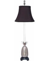 Popham Pineapple Pewter Buffet Table Lamp with Black Shade