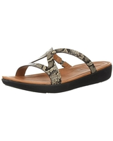 FitFlop Women's STRATA Slide Sandals, taupe snake, 10 M US