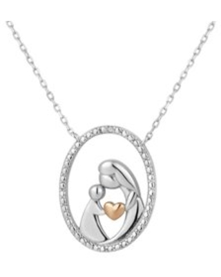 2Tone Sterling Silver Diamond Mother And Child Necklace 18 Inch