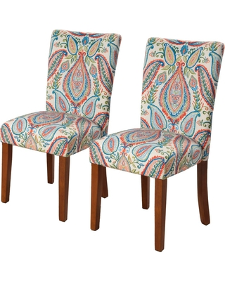 Homepop Parson Dining Chair - Paisley Turquoise and Coral (Set of 2)