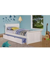 Twin Sleigh Bed in White with Twin Trundle - Donco 325-TW_503-W