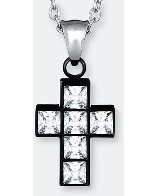 """Elya Polished Cubic Zirconia Inlay Cross Gold Plated Stainless Steel Pendant Necklace - 19"""""""