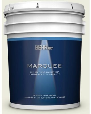 BEHR MARQUEE 5 gal. #M350-1 Grass Root Satin Enamel Interior Paint and Primer in One