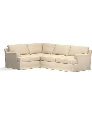Townsend Square Arm Slipcovered Right Arm 3-Piece Corner Sectional, Polyester Wrapped Cushions, Performance Everydayvelvet(TM) Buckwheat