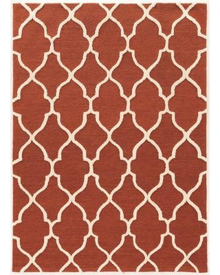 Alcott Hill Wyndmoor Hand-Tufted Orange/White Area Rug ALCT6867 Rug Size: Rectangle 5' x 7'