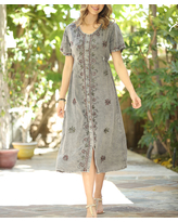 Ananda's Collection Women's Casual Dresses gray - Gray Floral Embroidered Bell-Sleeve Shift Dress - Women