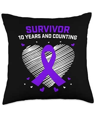 Pancreatic Cancer Awareness Products by Alexis Mae 10 Years Survivor Gifts Pancreatic Cancer Awareness Products Throw Pillow, 18x18, Multicolor
