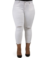 Plus Size Women's Poetic Justice Ripped Jagged Hem Ankle Jeans, Size 24W - White