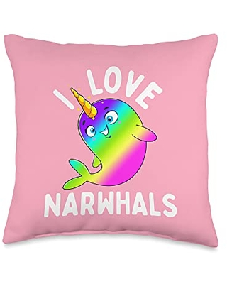 Unicorn Squad Goals Gift Store I Love Rainbow Kawaii Cute Narwhal Whale Gift Throw Pillow, 16x16, Multicolor