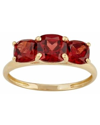 10k Gold 3-Stone Cushion Ring, Women's, Size: 6, Red