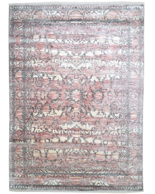 """One of a Kind Hand-Knotted Modern & Contemporary 9' x 12' Oriental Silk Pink Rug - 8'10""""x12'3"""" (Pink - 8'10""""x12'3"""")"""