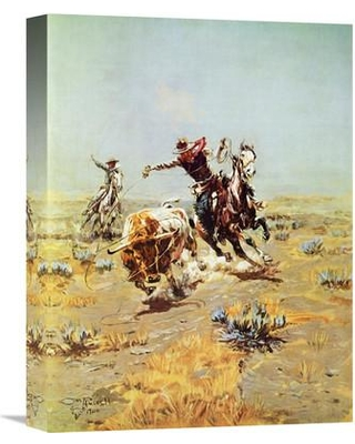 """Global Gallery 'Cowboy Roping a Steer' by Charles M. Russell Painting Print on Wrapped Canvas GCS-197707 Size: 36"""" H x 27.9"""" W x 1.5"""" D"""