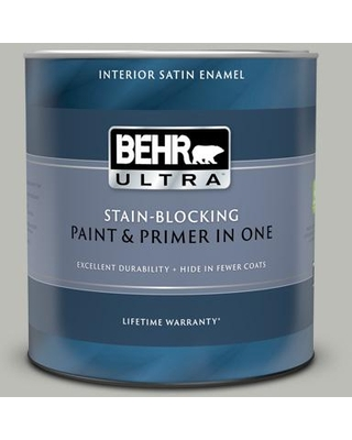Find The Best Deals On Behr Ultra 1 Qt Ppu24 17 Hailstorm Gray Extra Durable Satin Enamel Interior Paint And Primer In One