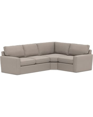 Pearce Square Arm Slipcovered Left Arm 3-Piece Wedge Sectional, Down Blend Wrapped Cushions, Performance Everydayvelvet(TM) Carbon