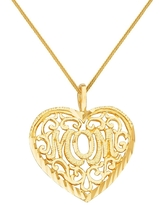 14k Yellow Gold Mother's Day Filigree Heart 'Mom' Pendant with Square Wheat Chain (20 Inch)