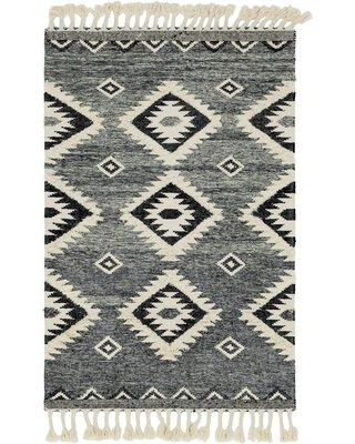 Union Rustic Shriver Southwestern Handmade Flatweave Wool Gray Area Rug, Wool in Gray/Silver, Size Rectangle 5' x 8' | Wayfair
