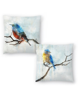 Little Blue Bird Ii and Little Blue Bird I Set of 2 Decorative Pillows (18x18)